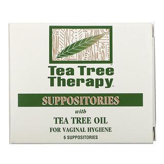 Tea Tree Therapy, لبوس بزيت شجرة الشاي للتطهير المهبلي، 6 لبوسات