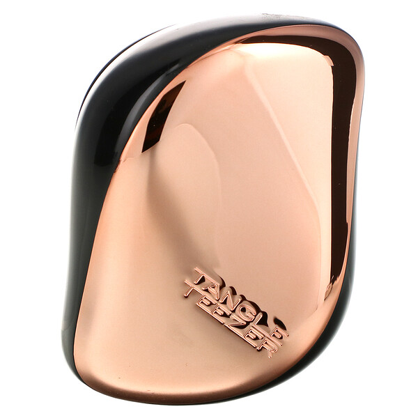 Tangle Teezer, Compact Styler,  Smooth and Shine, On-The-Go Detangling Hairbrush,  Rose Gold Black, 1 Brush