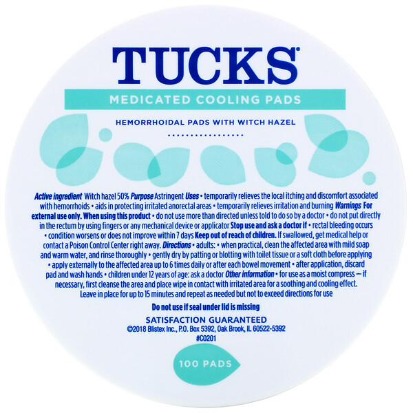 Tucks, Medicated Cooling Pads, 100 Pads