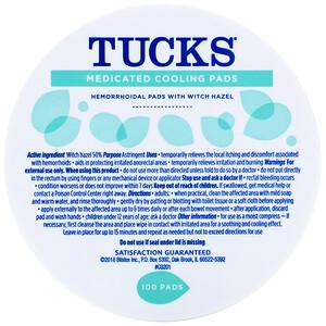 Тукс, Medicated Cooling Pads, 100 Pads отзывы покупателей