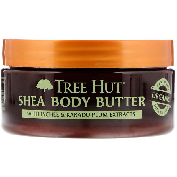 Tree Hut, 24小時強效保濕乳木果身體油,荔枝和李子,7盎司(198克)