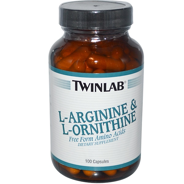 Twinlab, L-アルギニン& L-オルニチン、 100カプセル