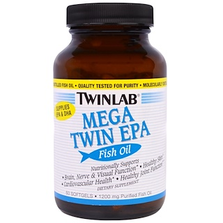 Twinlab, Mega Twin EPA Fish Oil, 1200 mg, 60 Softgels