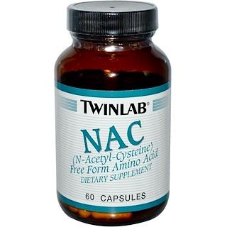 Twinlab, NAC, (N-ацетил-цистеин), 60 капсул