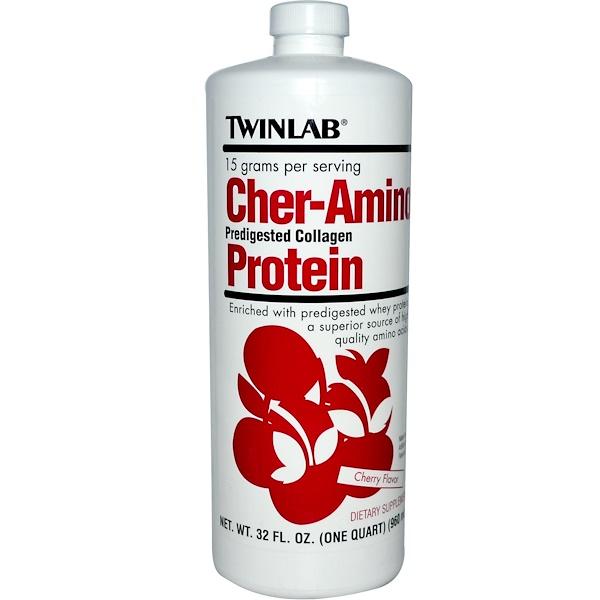 Twinlab, Cher-Amino Protein, Cherry Flavor, 32 fl oz (960 ml) (Discontinued Item)