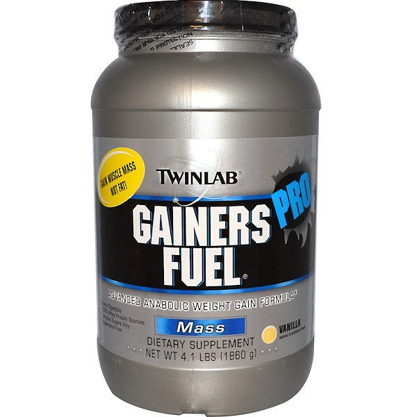 Twinlab, Gainers Fuel Pro, Advanced Anabolic Weight Gain Formula, Mass, Vanilla, 4.1 lbs (1860 g) (Discontinued Item)