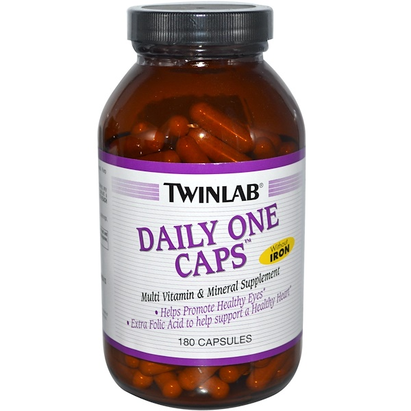 Twinlab, Daily One Caps, Without Iron, 180 Capsules
