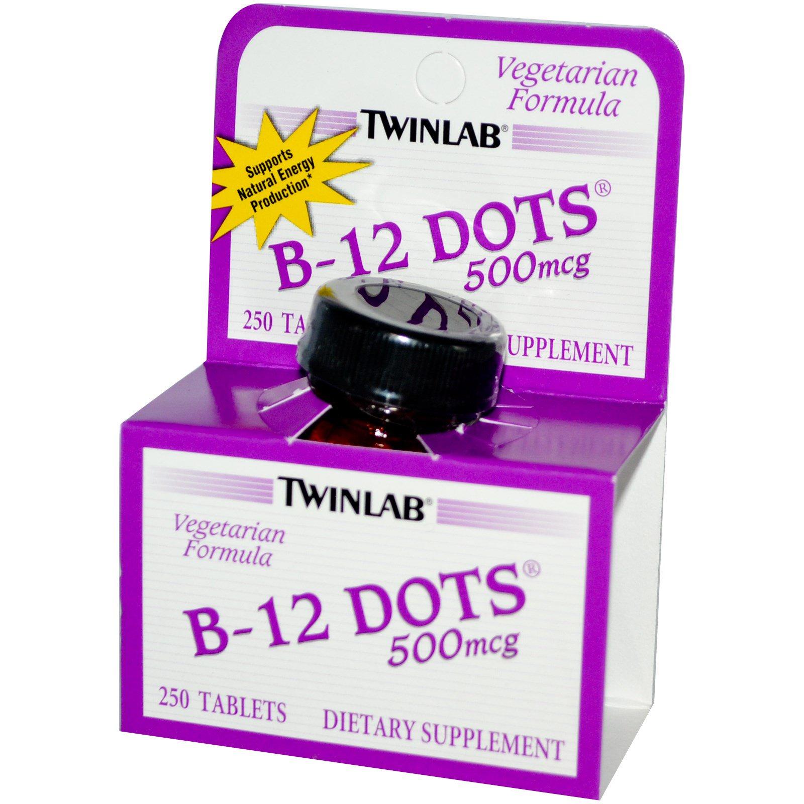 Twinlab, Мушки с B-12, 500 мкг, 250 таблеток