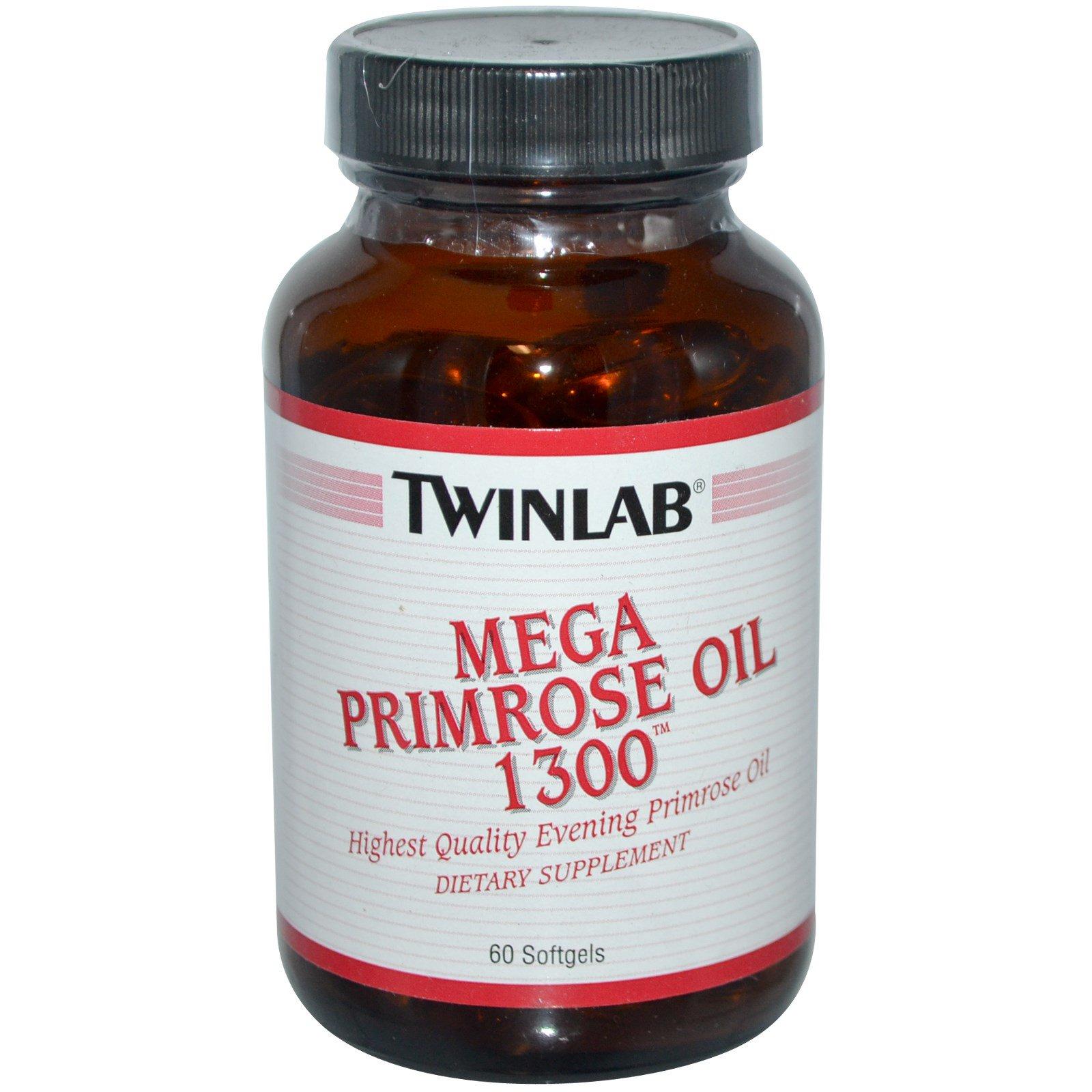 Twinlab, Мега масло примулы 1300, 60 гелевых капсул
