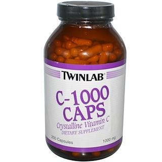Twinlab, C-1000 Caps, Crystalline Vitamin C, 1000 mg, 250 Capsules