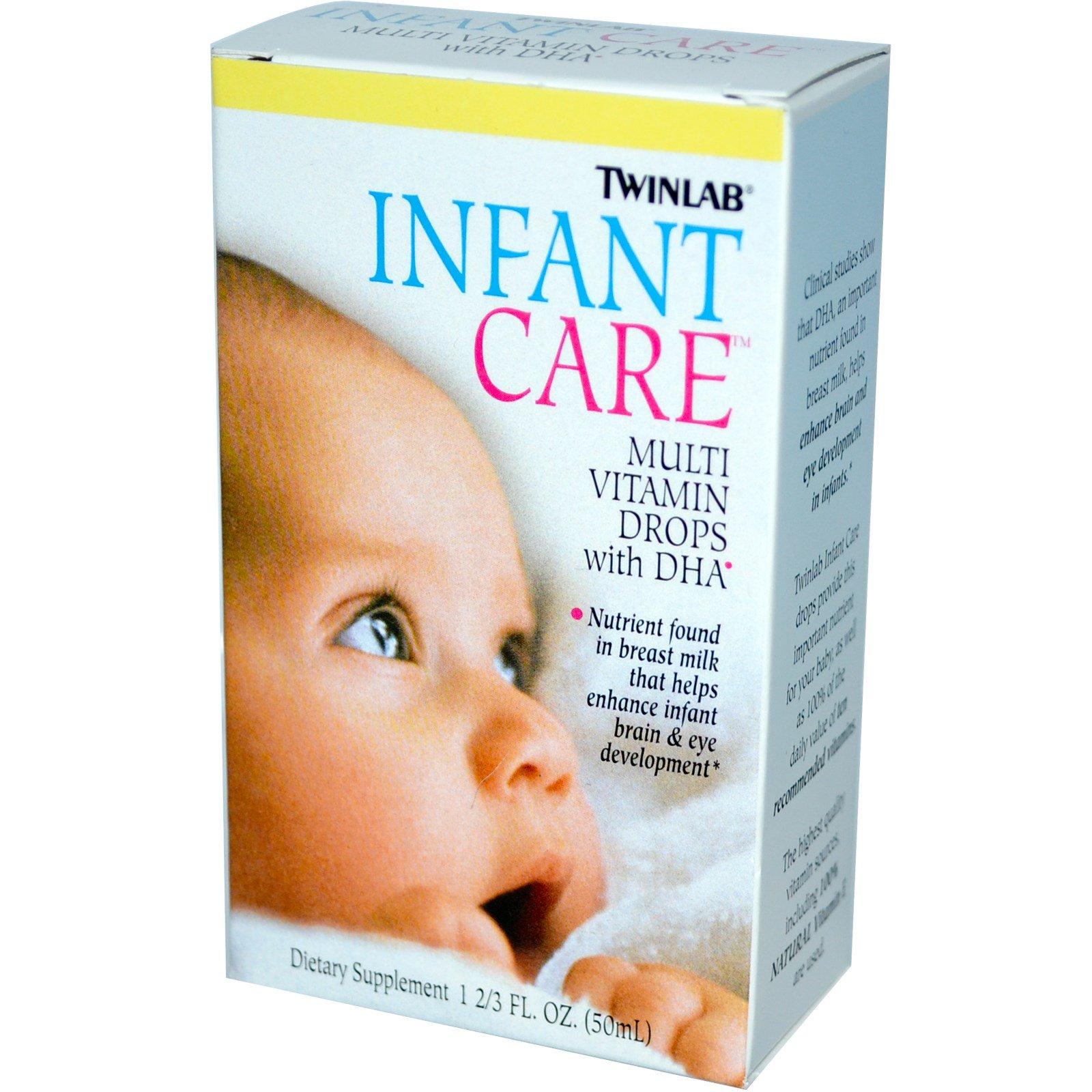 Twinlab, Уход за детьми, Мультивитаминные капли с докозагексаеновой кислотой, 1 2/3 жидких унции (50 мл)