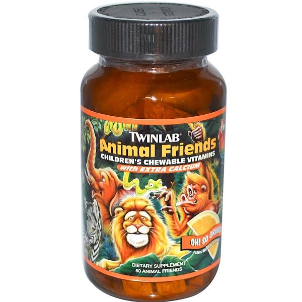 Twinlab, Animal Friends , Жевательные витамины для детей, О! Такой апельсиновый вкус! 50 шт. (Discontinued Item)