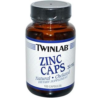 Twinlab, Zinc Caps, 30 mg, 100 Capsules