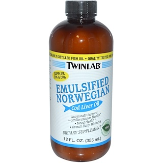 Twinlab, Emulsified Norwegian Cod Liver Oil, Mint, 12 fl oz (355 ml)