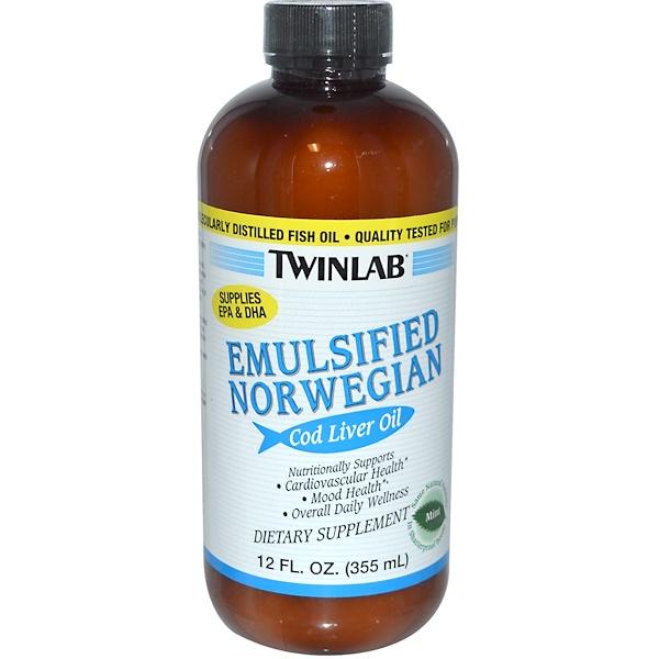 Twinlab, Emulsified Norwegian Cod Liver Oil, Mint, 12 fl oz (355 ml) (Discontinued Item)