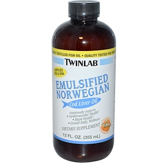 Twinlab, 乳化 ノルウェー コッド リバー オイル, オレンジ, 12 fl oz (355 ml)