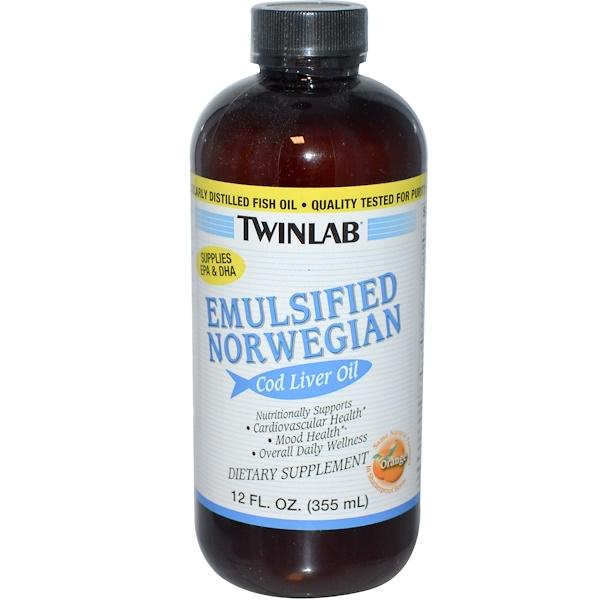 Twinlab, Emulsified Norwegian Cod Liver Oil, Orange, 12 fl oz (355 ml)