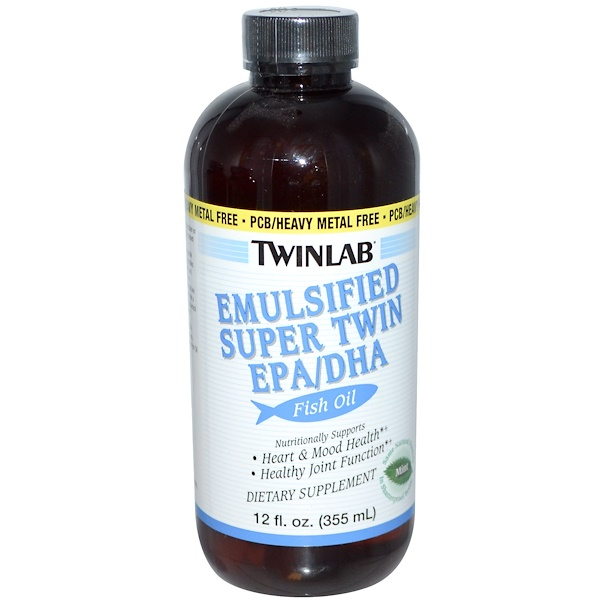 Twinlab, Emulsified Super Twin EPA/DHA Fish Oil, Mint, 12 fl oz (355 ml) (Discontinued Item)