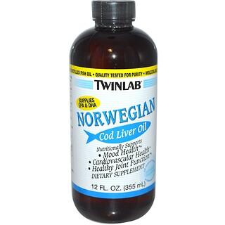 Twinlab, Норвежское масло печени трески, без запаха, 12 жидких унций (355 мл)