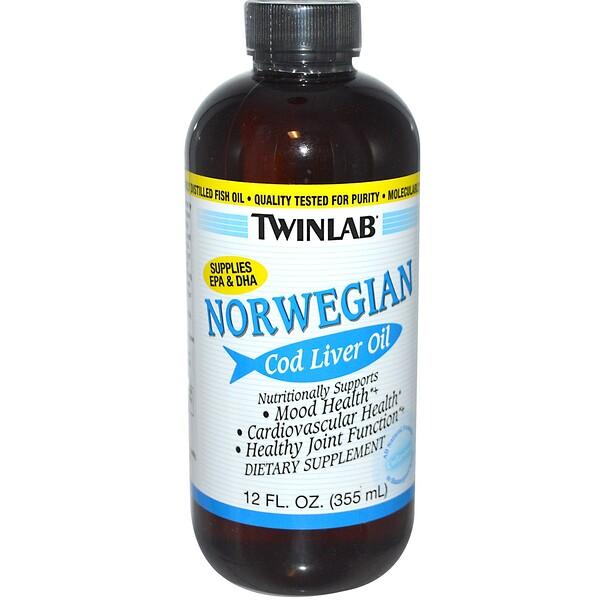 Twinlab, Norwegian Cod Liver Oil, Unflavored, 12 fl oz (355 ml)