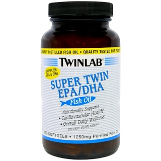 Twinlab, Super Twin EPA/DHA, Fish Oil, 100 Softgels,
