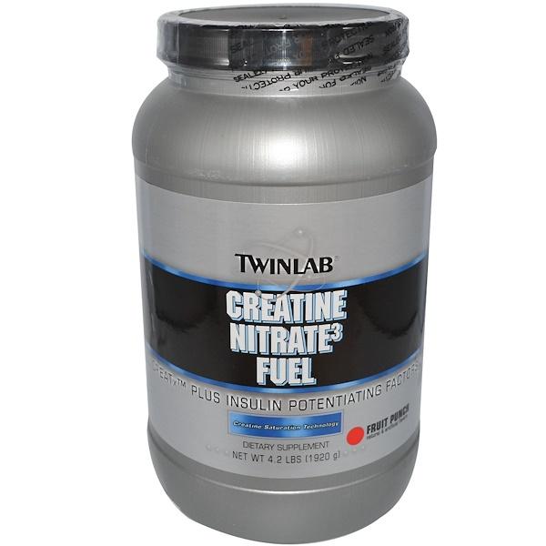 Twinlab, Креатин нитрат, фруктовый пунш 4.2 фунта (1920 г) (Discontinued Item)