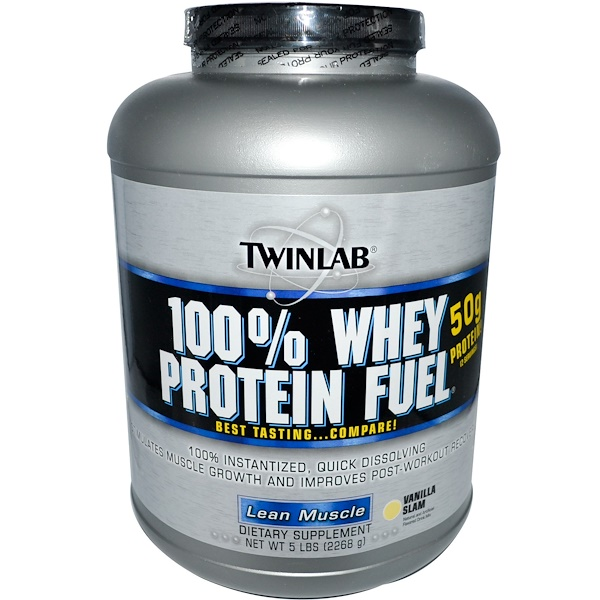 Twinlab, 100% Whey Protein Fuel, Lean Muscle, Vanilla Slam, 5 lbs (2268 g) (Discontinued Item)
