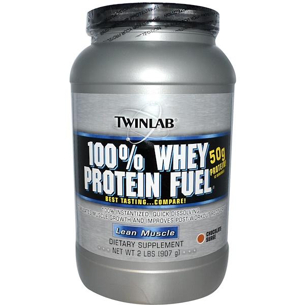 Twinlab, 100 % белок молочной сыворотки, Сухая мышечная масса, Волна шоколада, 2 фунта (907 г) (Discontinued Item)