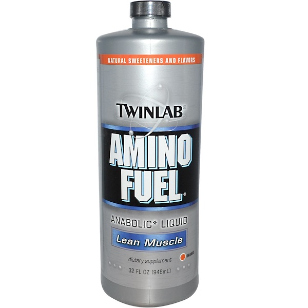 Twinlab, アミノフュエルアナボリックリキッド、 リーンマッスル、 オレンジ、 32液量オンス (948 ml)