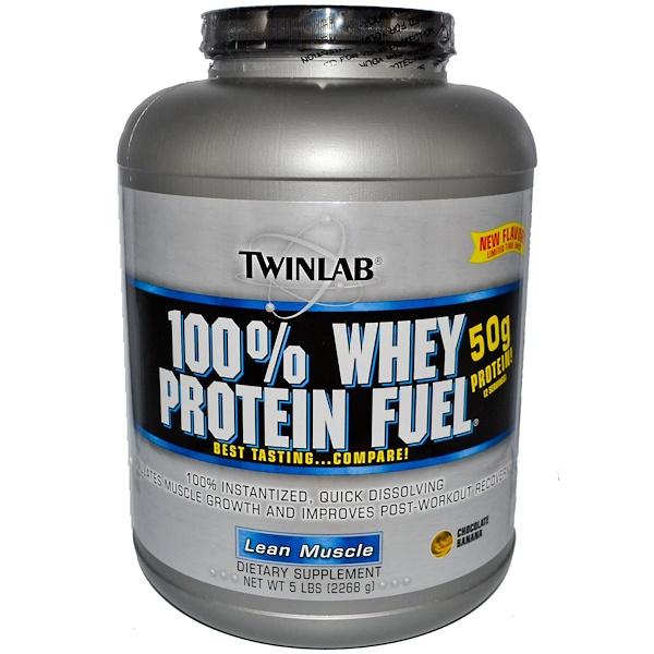 Twinlab, 100% сывороточный протеин для увеличения мышечной массы, со вкусом шоколада и бананов, 5 фунтов (2268 г) (Discontinued Item)