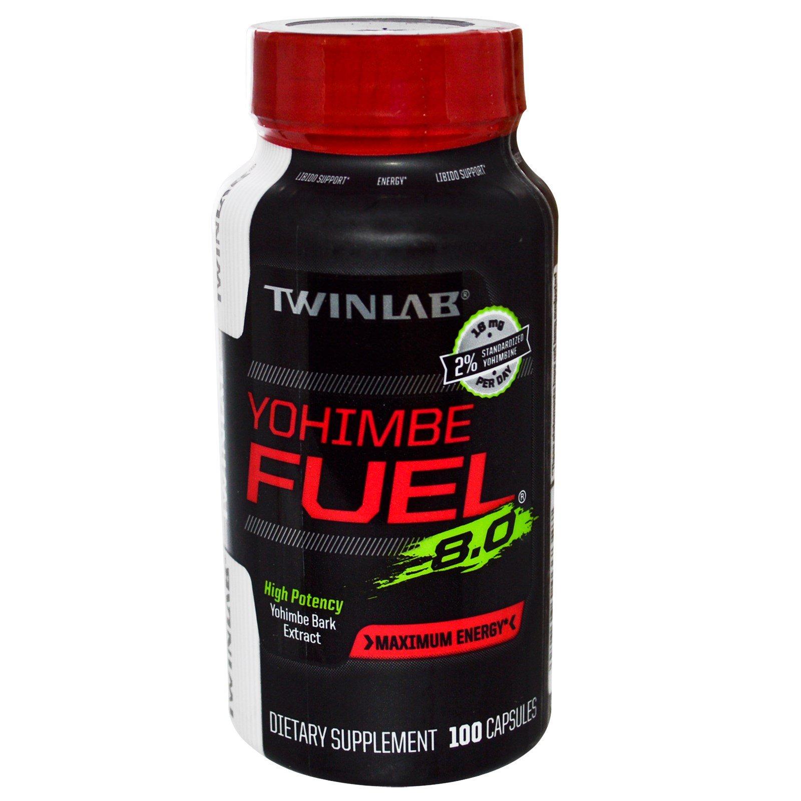 Twinlab, Yohimbe Fuel, 8.0., максимальная энергия, 100 капсул