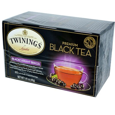Купить Черный чай премиум-класса, со вкусом черной смородины, 20 чайных пакетиков, 40 г (1, 41 унции)