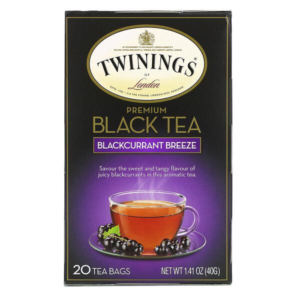 Premium Black Tea, Blackcurrant Breeze, 20 Tea Bags, 1.41 oz (40 g)