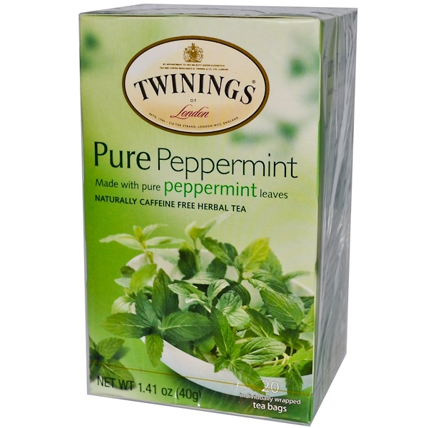 Twinings, Pure Peppermint Tea, Caffeine Free, 20 Tea Bags, 1.41 oz (40 g) (Discontinued Item)