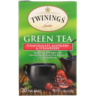 Twinings, 緑茶、ザクロ、ラズベリー&ストロベリー、ティーバッグ20袋、1.06オンス(30 g)