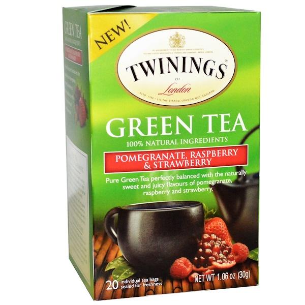Twinings, 綠茶,石榴、覆盆子和草莓,20包,1、06盎司(30克)
