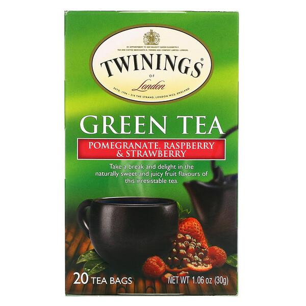 緑茶、ザクロ・ラズベリー・イチゴ、ティーバッグ20袋、30g(1.06オンス)