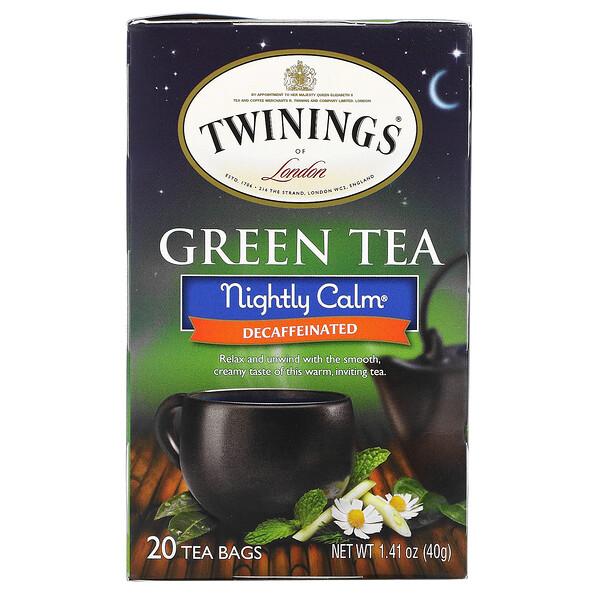 Green Tea, Nightly Calm, Naturally Decaffeinated, 20 Tea Bags, 1.41 oz (40 g)