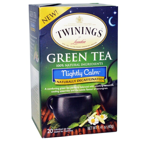 Green Tea, Nightly Calm, Naturally Decaffeinated, 20 Tea Bags, 1.41 oz (40 g)