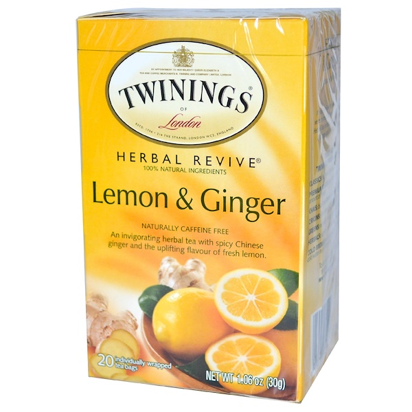 Twinings, Herbal Revive, Lemon & Ginger, Naturally Caffeine Free, 20 Tea Bags, 1.06 oz (30 g) (Discontinued Item)