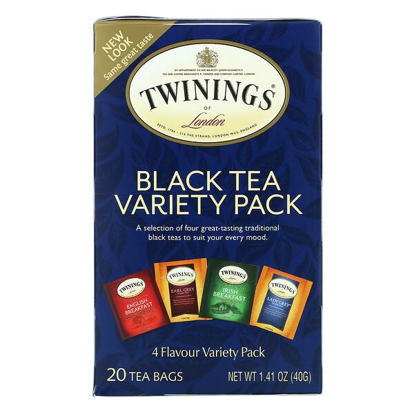 черный чай, набор разных сортов, 20чайных пакетиков, 40г (1,41унции)