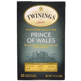 Twinings, プリンス・オブ・ウェールズ紅茶、ティーバッグ20袋、1.41 oz (40 g)