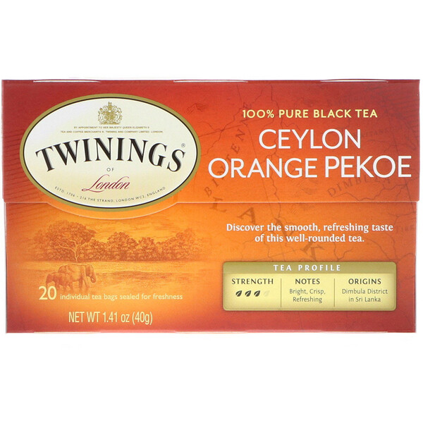 Ceylon Orange Pekoe Tea, 20 Tea Bags, 1.41 oz (40 g)