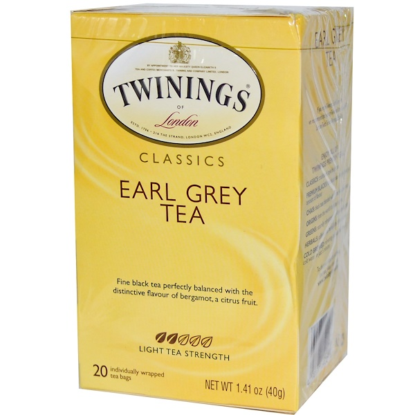 Twinings, Classics, Earl Grey Tea, 20 Tea Bags, 1.41 oz (40 g) (Discontinued Item)