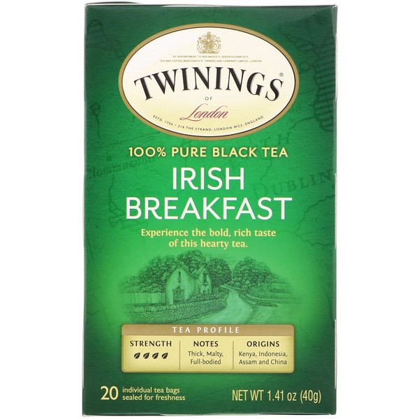 Twinings, 100% Pure Black Tea, Irish Breakfast Tea, 20 Tea Bags, 1.41 oz (40 g)