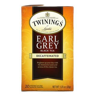 Twinings, 格雷伯爵红茶,脱因,20 茶包,1.23 盎司(35 克)