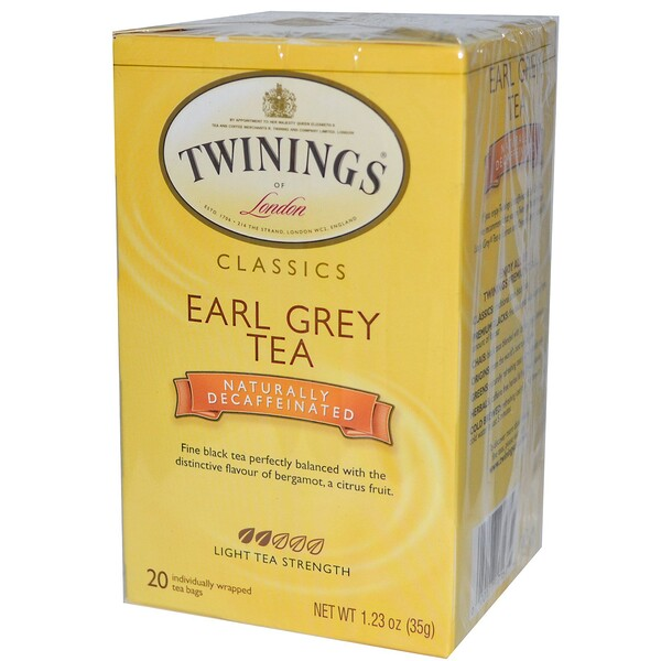 Twinings, Classics, Earl Grey, Naturally Decaffeinated, 20 Tea Bags, 1.23 oz (35 g) (Discontinued Item)