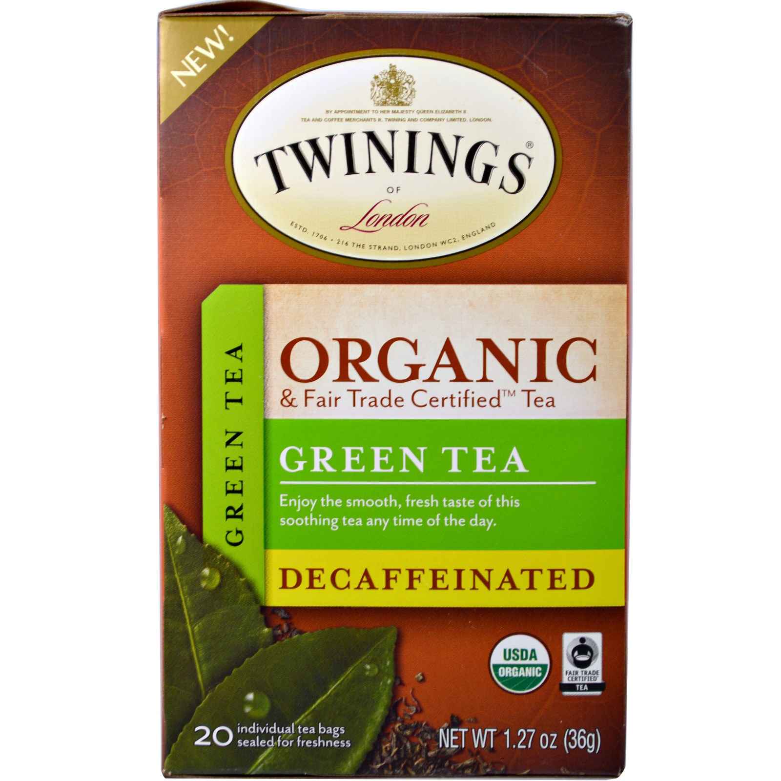Twinings Organic Green Tea Decaffeinated 20 Bags 1 27 Oz 36
