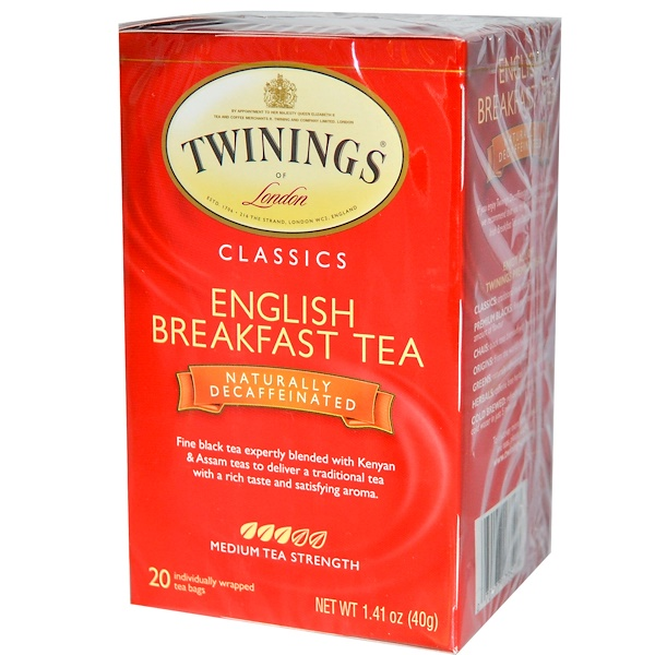 Twinings, Classics, English Breakfast Tea, Naturally Decaffeinated, 20 Tea Bags, 1.41 oz (40 g) (Discontinued Item)