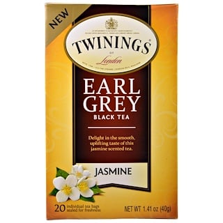 Twinings, Black Tea, Earl Grey, Jasmine, 20 Tea Bags - 1.41 oz (40 g)